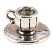 Cup & Saucer 3D Sterling Silver Charms